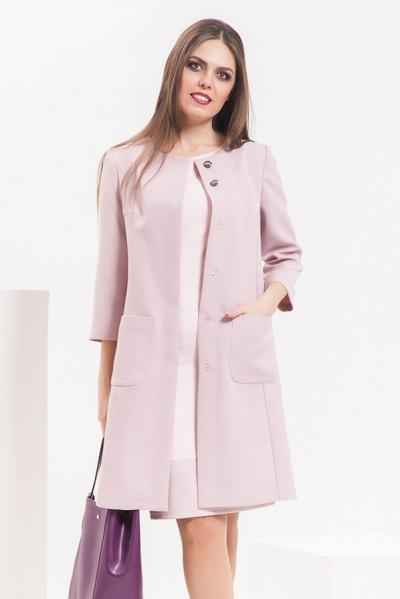 Пальто облегченное с фактурной полоской, П-505/1